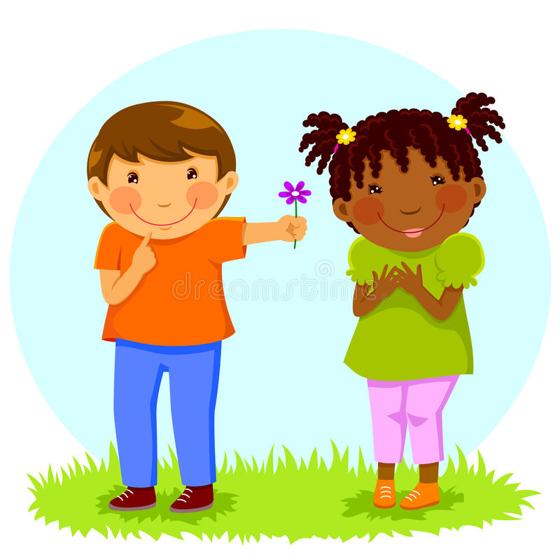 Le garçon donne la fleur à la fille illustration stock