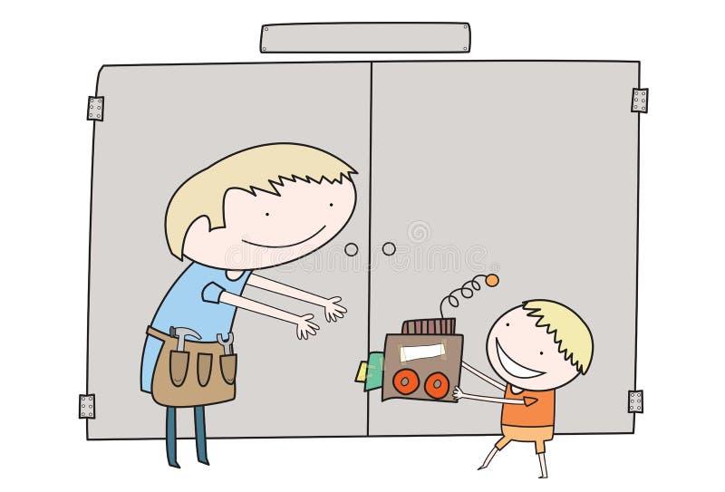Le garçon donne le cadeau fabriqué à la main à son papa images stock