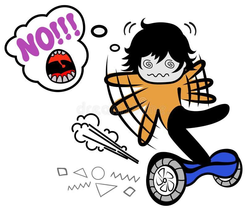 Le garçon drôle de griffonnage de vecteur tombe sur segway Homme de bande dessinée essayant de garder l'équilibre Type équilibran illustration stock