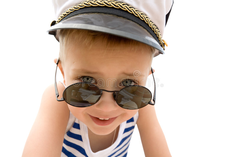 Le garçon du bateau (cadet). Capuchon. image stock