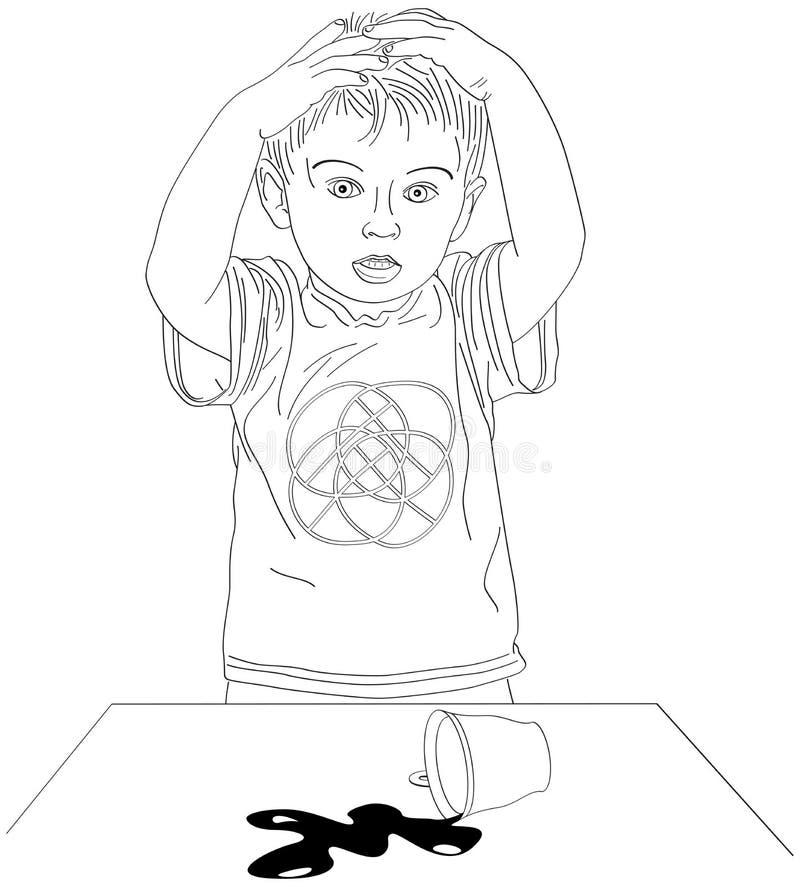 Le garçon effrayé et versent une tasse illustration libre de droits