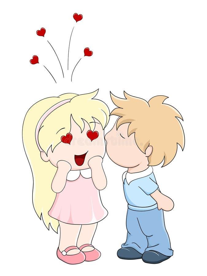 Le garçon embrasse la fille sur la joue illustration de vecteur