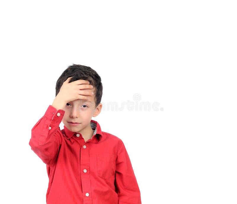 Le garçon, enfant, mal de tête, a fatigué, las images stock