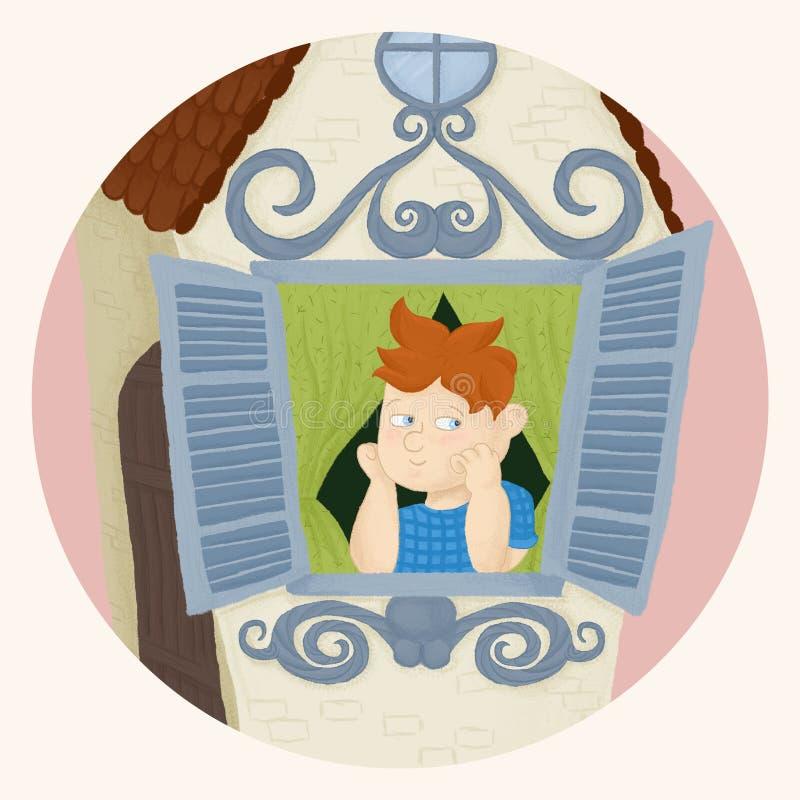 Le garçon est reposant et regardant la fenêtre à la rue Les vies de Carlson sur le toit images libres de droits