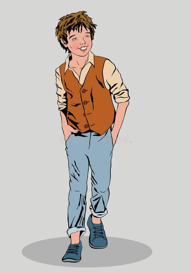 Le garçon est souriant et portant des jeans et un gilet de chemise photographie stock