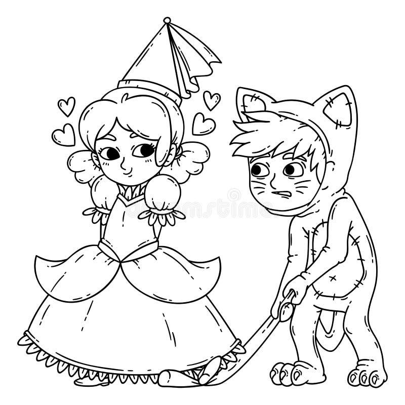 Le garçon et la fille dans Halloween costume la princesse et le chat illustration de vecteur