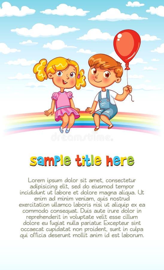 Le garçon et la fille s'asseyent sur l'arc-en-ciel illustration libre de droits