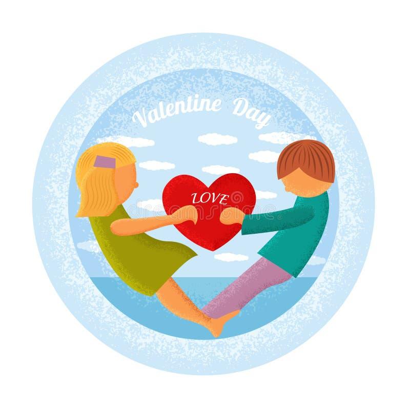 Le garçon et la fille tiennent le fond de bleu de cercle de coeur illustration stock