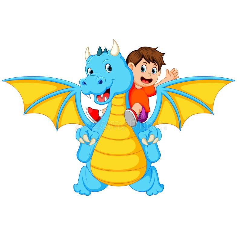 Le garçon jouant avec le grands dragon et lui bleus peut produire le feu illustration stock