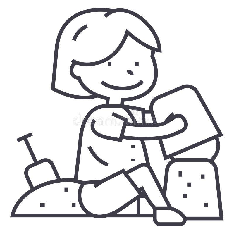 Le garçon jouant avec le sable sur la plage ou le bac à sable, l'omoplate et le seau dirigent la ligne icône, le signe, illustrat illustration libre de droits