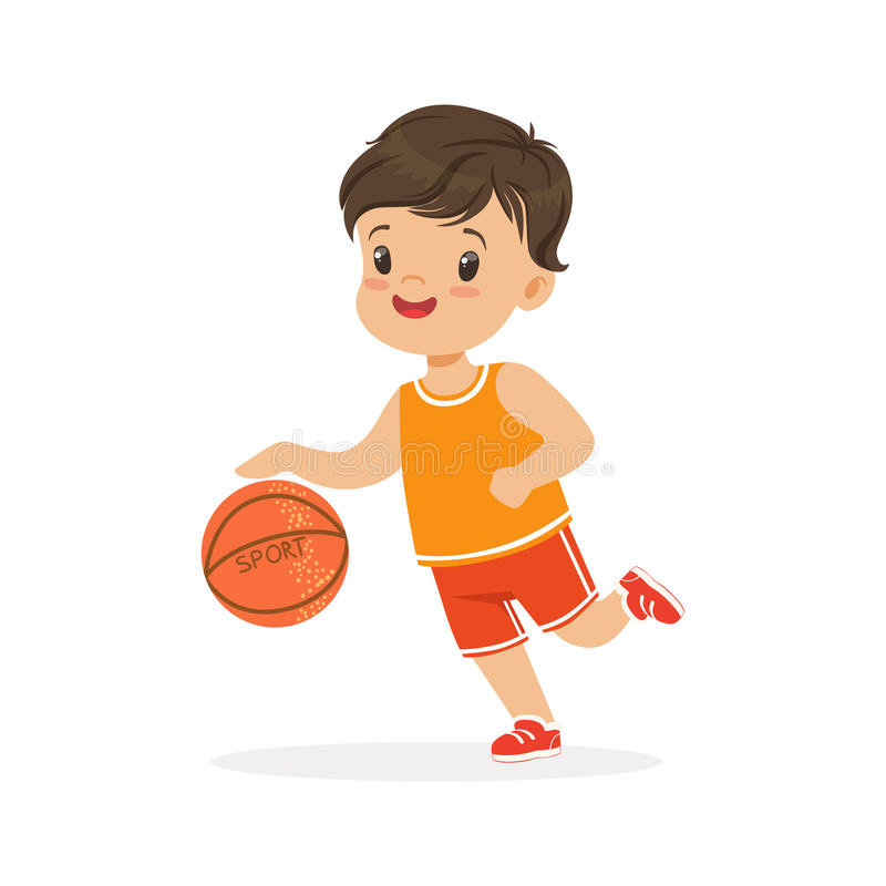 Le garçon jouant le basket-ball, joueur déplace l'illustration colorée de vecteur de caractère de ruissellement illustration de vecteur