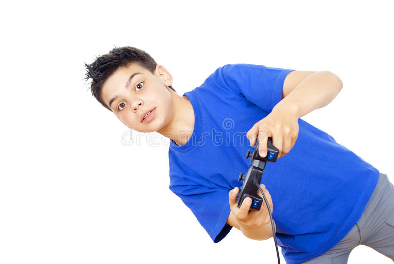 Le garçon joue des jeux vidéo sur le manche photographie stock