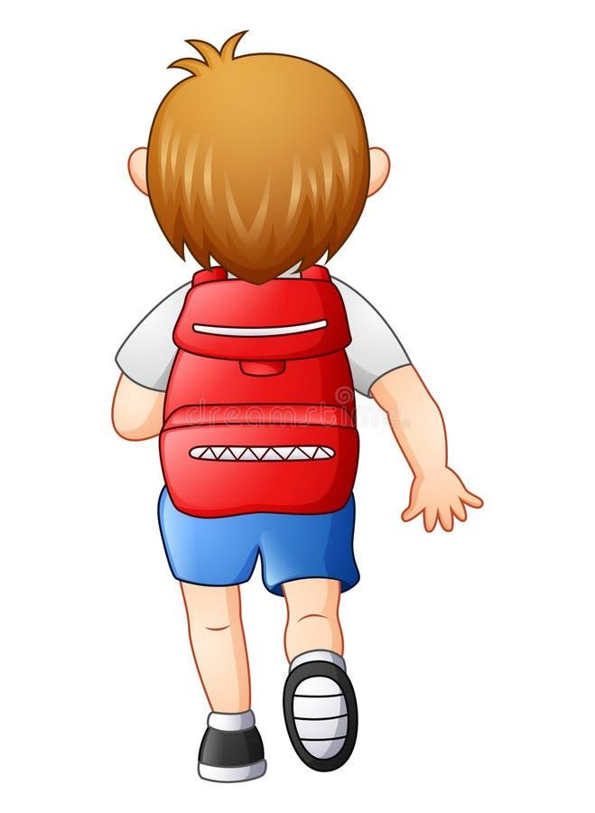 Le garçon mignon dans un uniforme scolaire vont à l'école illustration stock
