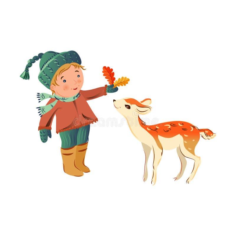 Le garçon mignon de cheveux blonds est donné des feuilles aux cerfs communs d'oeufs de poisson illustration stock