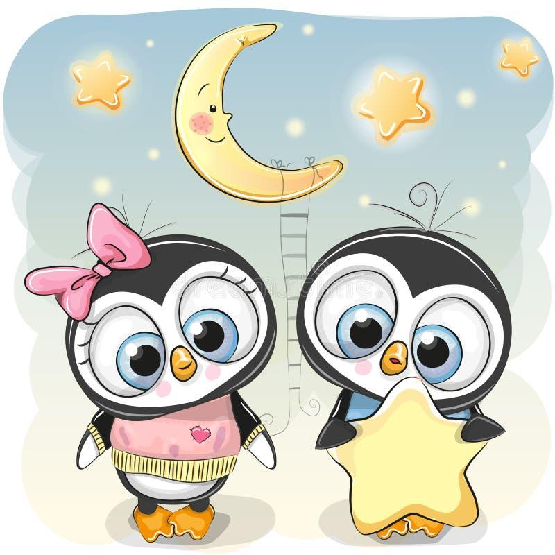 Le garçon mignon de pingouin donne à une fille de pingouin une étoile illustration stock