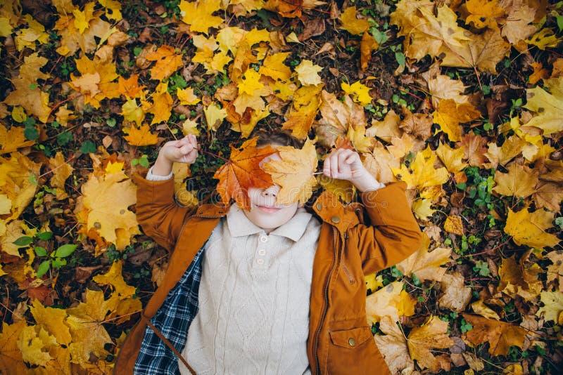 Le garçon mignon marche et pose en parc coloré d'automne images stock