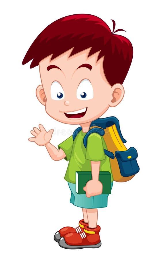 Le garçon mignon vont à l'école illustration de vecteur