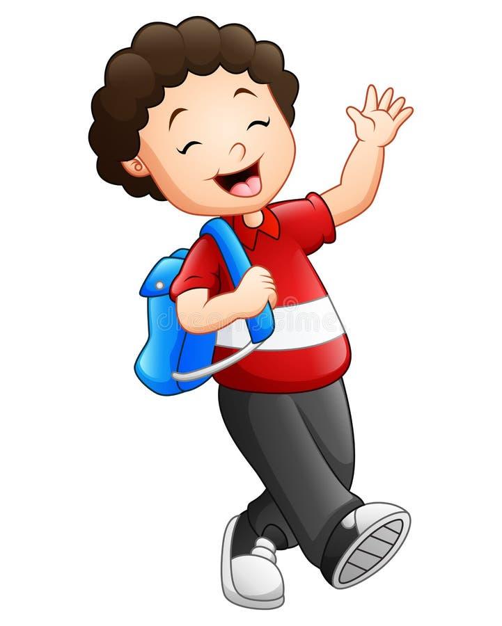 Le garçon mignon vont à l'école illustration stock