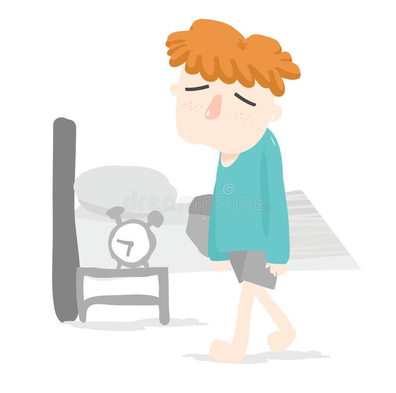 Le garçon orange de cheveux se réveillent juste dans la chambre à coucher photo libre de droits