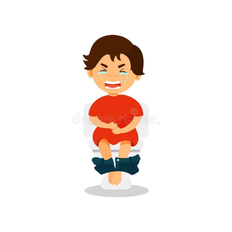 Le garçon pleurant s'asseyant sur la toilette souffrant de la diarrhée et la douleur abdominale dirigent l'illustration sur un fo illustration de vecteur