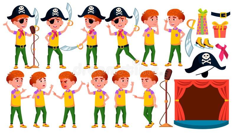 Le garçon pose le vecteur réglé Représentation publique Pirate, sabre, crâne Pour la présentation, invitation, design de carte D' illustration stock