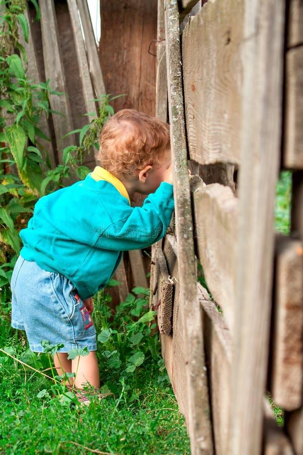 Le garçon près de la barrière photographie stock