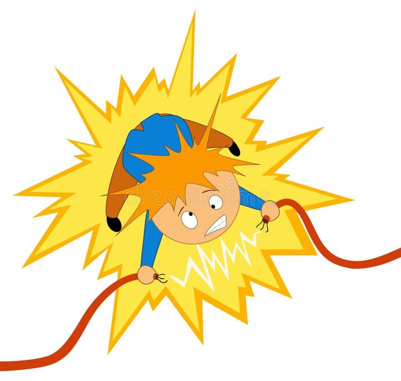 Le garçon prennent le choc d'électricien sur le fil illustration stock