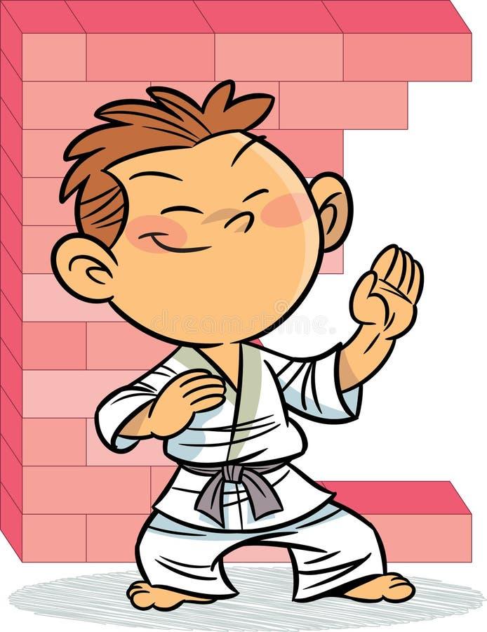 Le garçon, qui est engagé dans le karaté illustration libre de droits