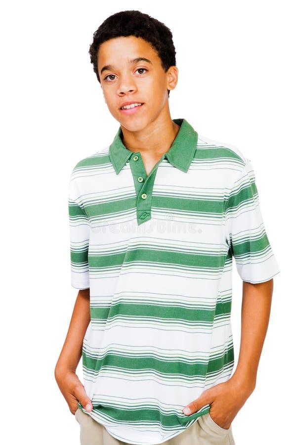 le garçon remet des poches d'adolescent image libre de droits