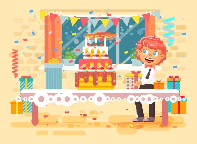 Le garçon roux seul d'enfant de personnage de dessin animé d'illustration de vecteur célèbrent le joyeux anniversaire illustration stock