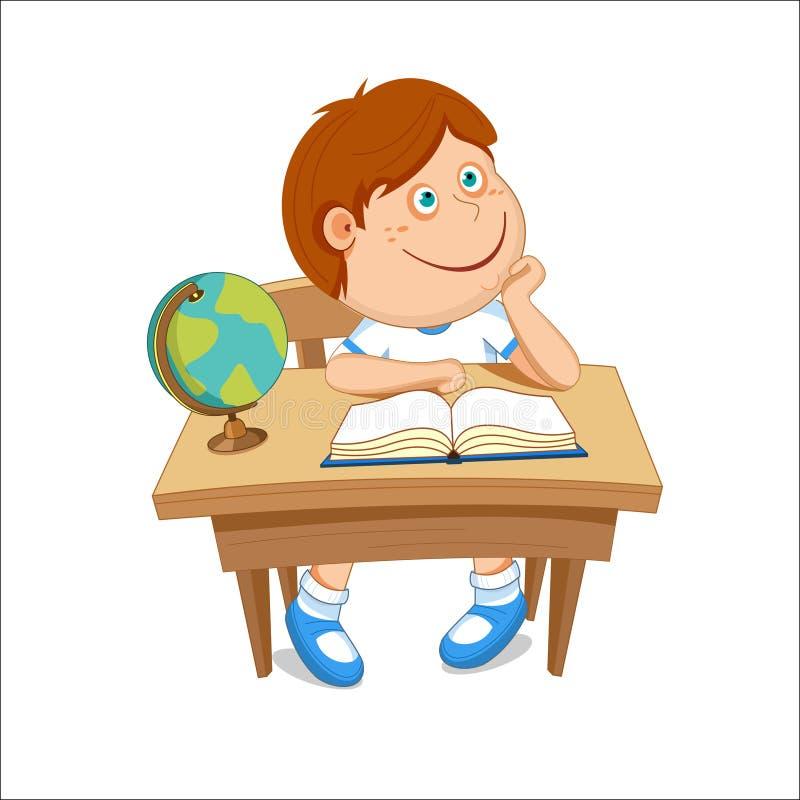 Le garçon s'assied à la table, sur la table un livre et un globe, défectuosité de vecteur illustration de vecteur