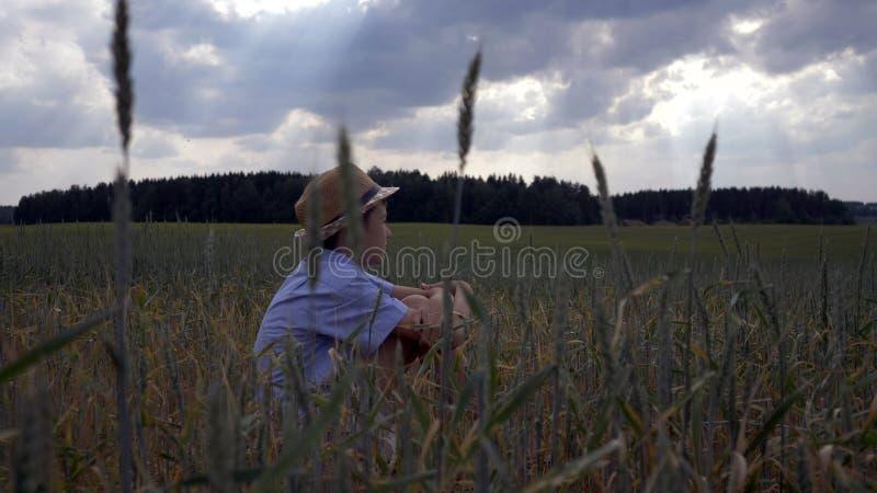 Le garçon s'assied dans un domaine un et examine la distance photographie stock libre de droits