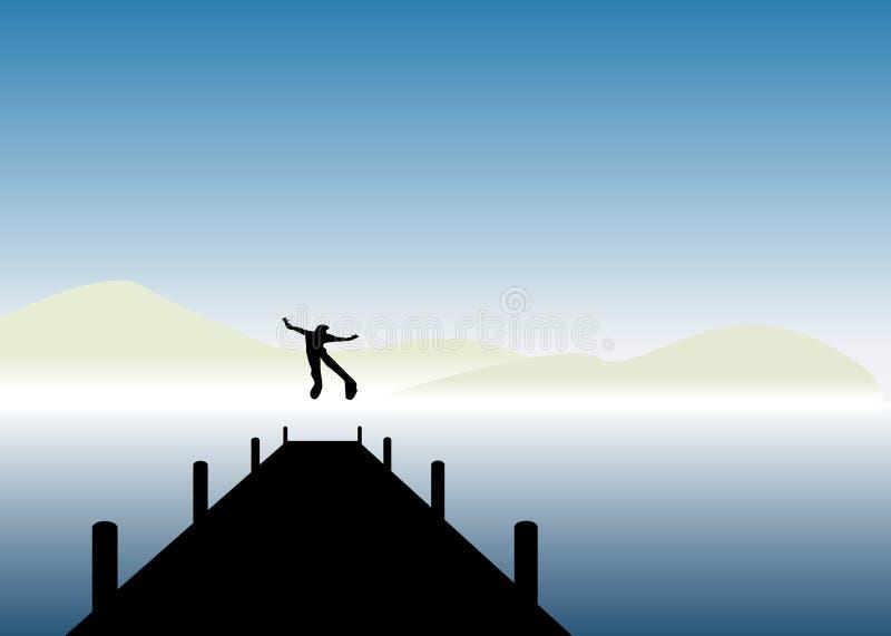 Le garçon sautant dans un lac photographie stock