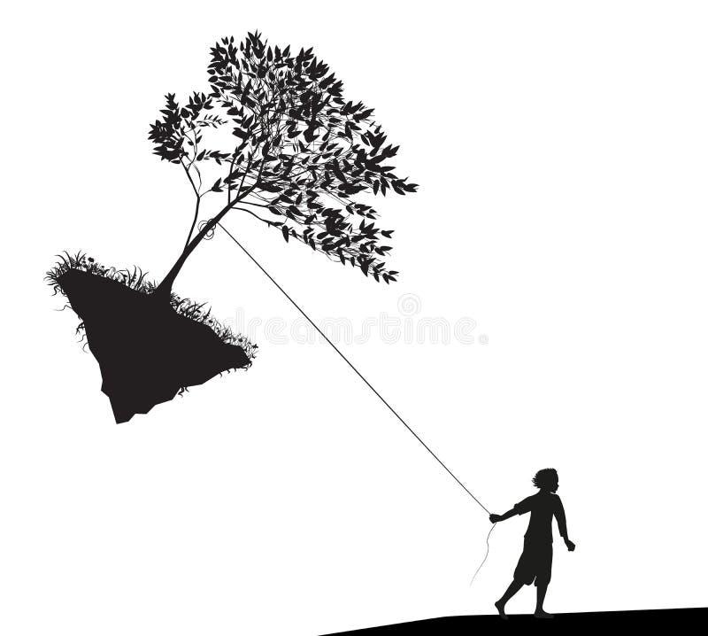 Le garçon tenant et tirant l'arbre sur la roche de vol, prennent le derniers arbre, humanité et environnement, illustration de vecteur