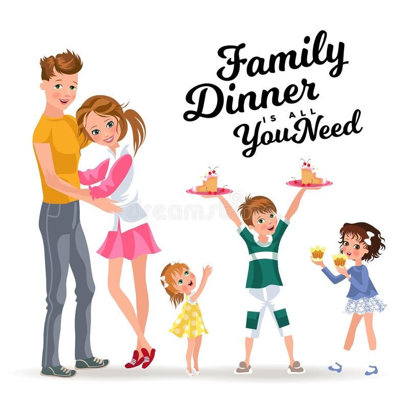 Le garçon tient le plat dans des filles de festin de mains, des enfants mangeant le bonbon sur le dîner, le frère de famille et d illustration stock