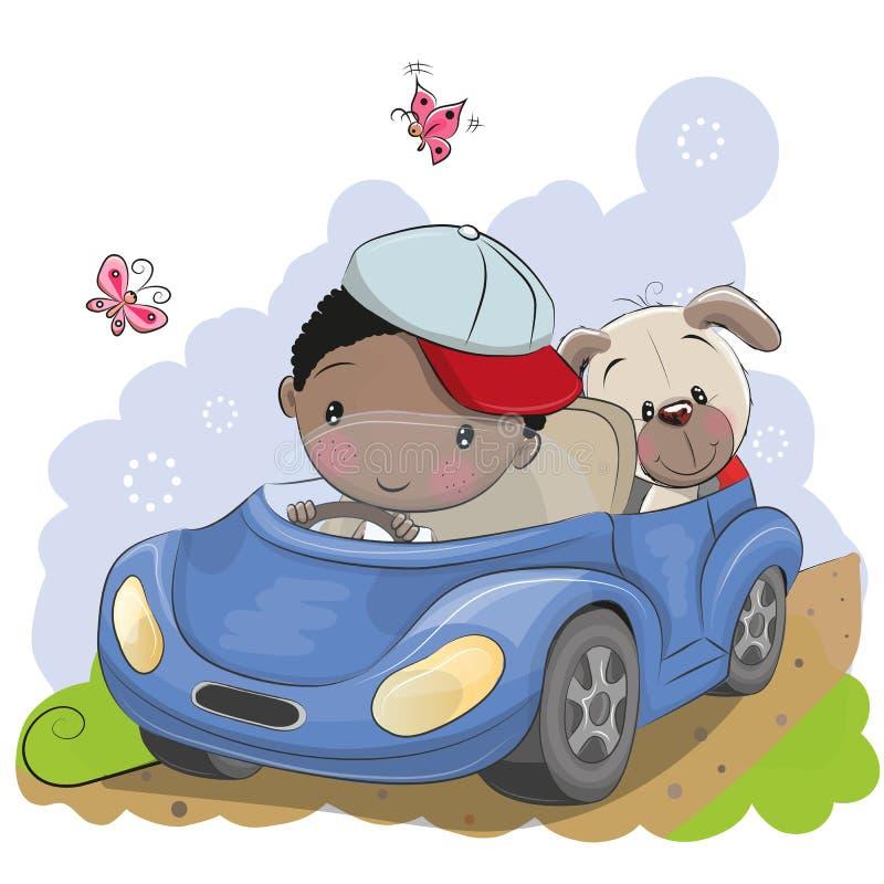Le garçon va sur la voiture illustration de vecteur