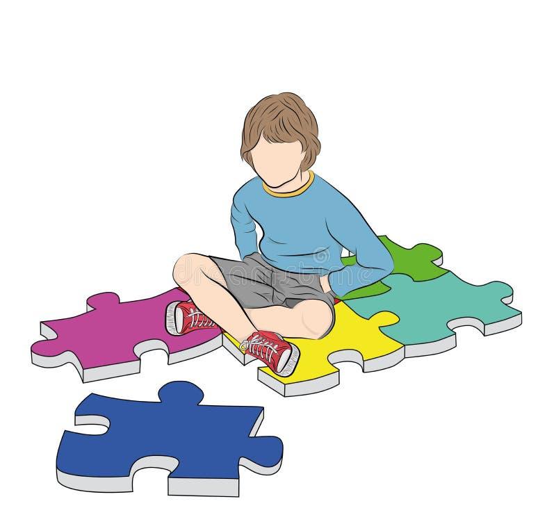 Le gar?on s'assied sur le symbole de puzzles de l'autisme Illustration de vecteur illustration de vecteur