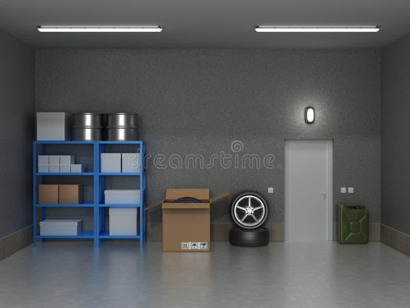 Le garage suburbain intérieur avec des roues photo libre de droits
