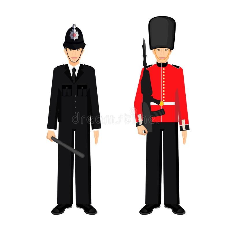 Le garde britannique et le policier du R-U dirigent l'illustration d'isolement illustration stock