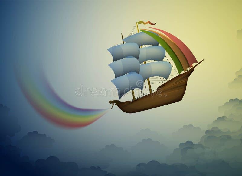 Le gardien d'arc-en-ciel, a mis l'arc-en-ciel féerique sur le ciel, le bateau magique dans le pays des merveilles, scène du pays  illustration stock