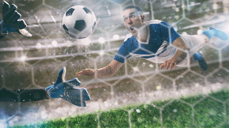 Le gardien de but attrape la boule dans le stade pendant une partie de football image libre de droits