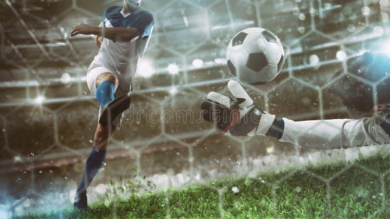 Le gardien de but attrape la boule dans le stade pendant une partie de football photographie stock