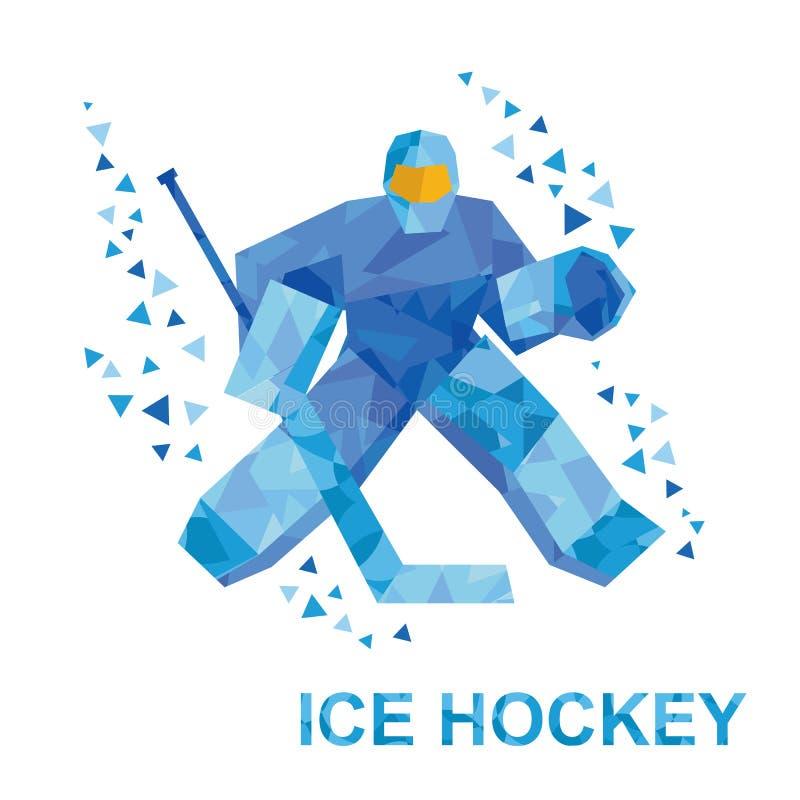 Le gardien de but de bande dessinée avec le bâton de hockey attrape le galet illustration libre de droits