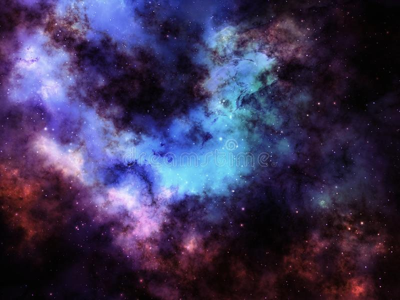 Le gaz coloré de nébuleuse opacifie et se tient le premier rôle dans l'espace lointain image stock