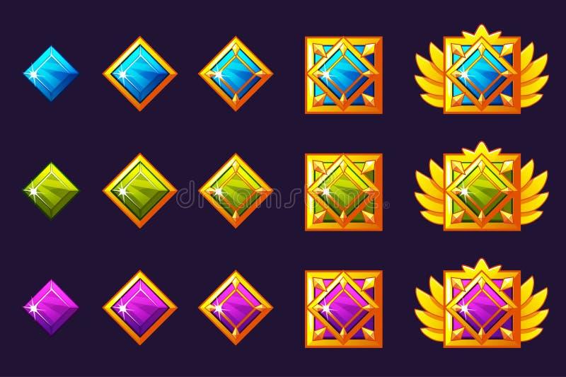 Le gemme assegnano il progresso Amuleti dorati messi con gioielli quadrati Beni delle icone di vettore per progettazione del gioc royalty illustrazione gratis