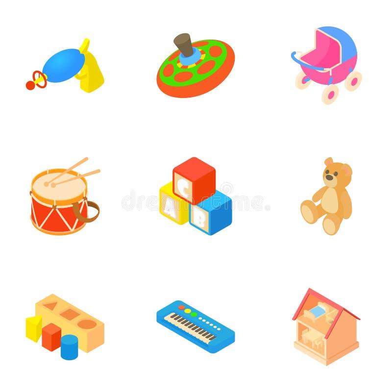 Le genre d'icônes de jouets a placé, style de bande dessinée illustration de vecteur
