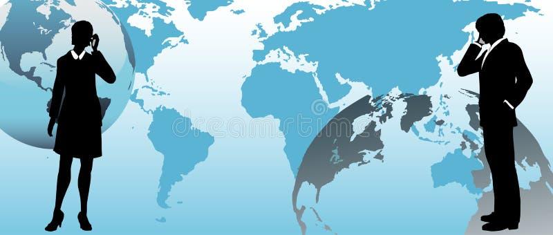 Le gens d'affaires global communique à travers le monde illustration de vecteur
