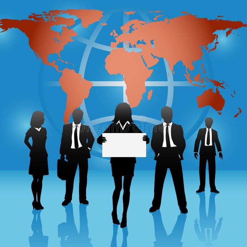 Le gens d'affaires global du monde de carte team le signe de prise illustration libre de droits