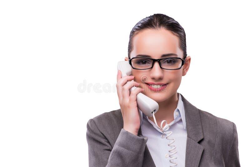 Le gentil opérateur élégant de centre d'appels d'isolement sur le blanc photographie stock libre de droits