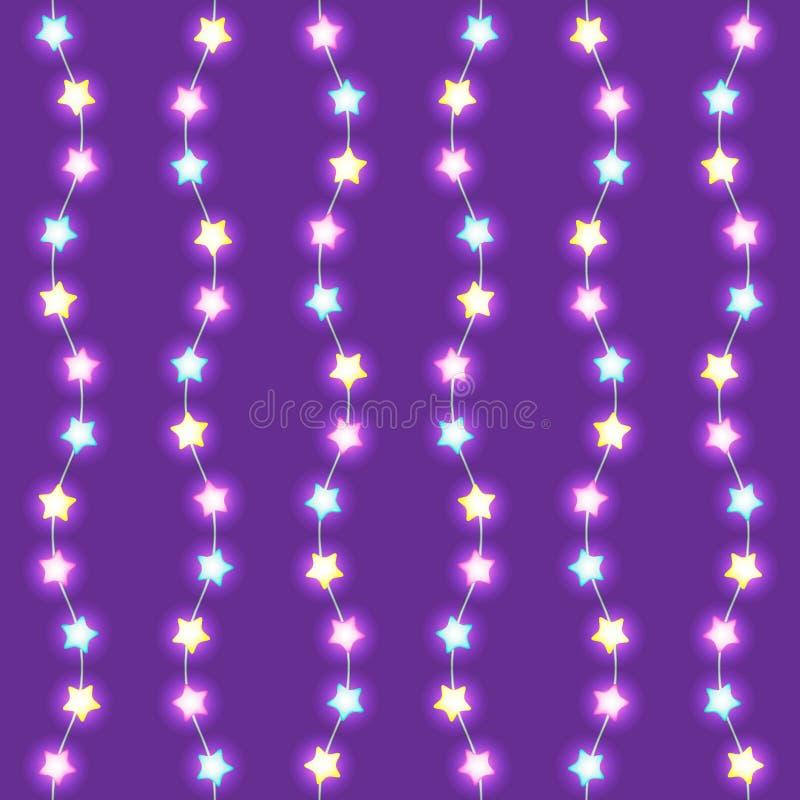 Le ghirlande luminose con la stella d'ardore si accende su fondo viola Elemento senza cuciture di progettazione di vettore per le illustrazione vettoriale